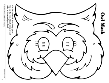 photo regarding Printable Owl Pattern titled Owl: Mask Habit Printable Arts and Crafts