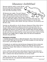 Dinosaurs And Fossils Worksheets Reading Comprehension Printable