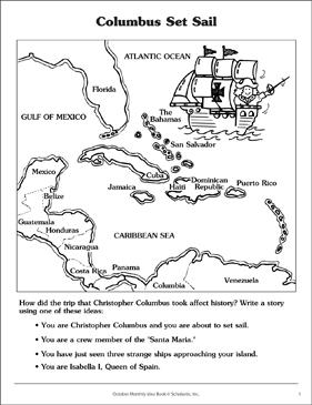 picture regarding Christopher Columbus Printable Activities called Christopher Columbus Discovery Map Printable Capabilities Sheets