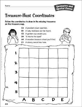 treasure hunt coordinates geometry spatial sense printable lesson plans ideas and skills. Black Bedroom Furniture Sets. Home Design Ideas