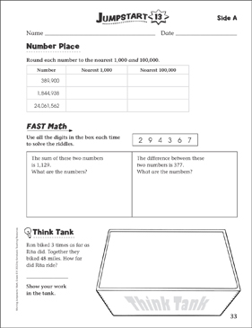 Independent Practice: Grade 5 Math Jumpstart 13   Printable Skills