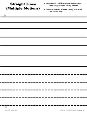 Straight Lines with Multiple Motions: Scissor Skills - Printable Worksheet