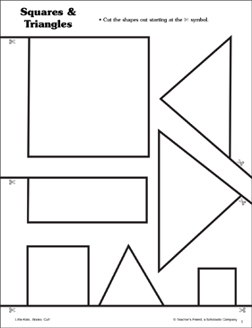 Squares and Triangles: Scissor Skills - Printable Worksheet