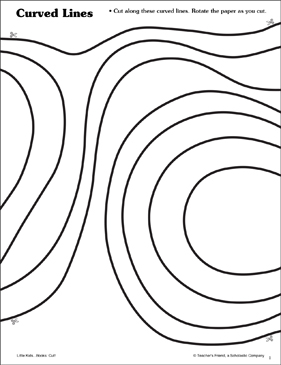 Curved Lines: Scissor Skills - Printable Worksheet