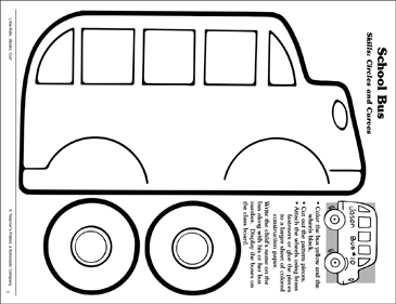 School Bus (Circles and Curves): Scissor Skills - Printable Worksheet