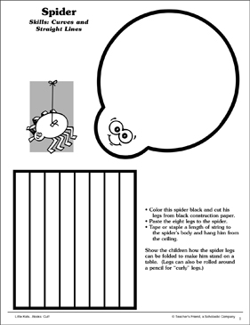 Spider (Curves and Straight Lines): Scissor Skills - Printable Worksheet