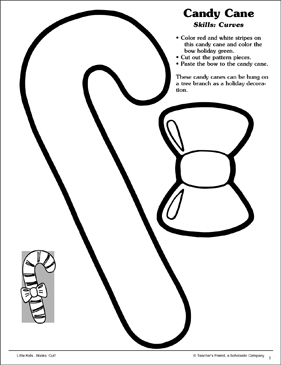 Candy Cane (Curves): Scissor Skills - Printable Worksheet