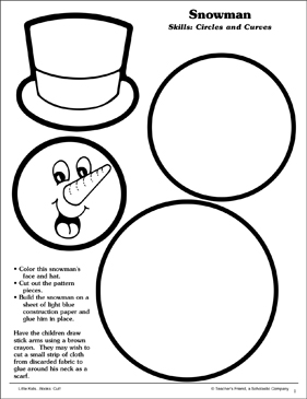 Snowman (Circles and Curves): Scissor Skills - Printable Worksheet