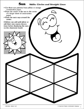 Sun (Circles and Straight Lines): Scissor Skills - Printable Worksheet