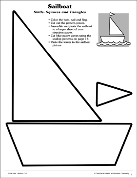 picture about Sailboat Printable titled Sailboat (Squares and Triangles): Scissor Competencies Printable