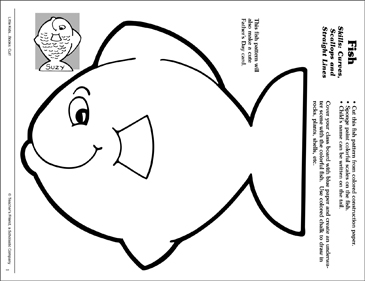 Fish (Curves, Scallops and Straight Lines): Scissor Skills - Printable Worksheet