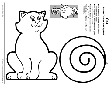 Cat (Curves and Spirals): Scissor Skills - Printable Worksheet