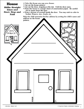 House (Straight Lines and Stop, Start and Fold): Scissor Skills - Printable Worksheet