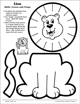 Lion (Curves and Fringe): Scissor Skills - Printable Worksheet