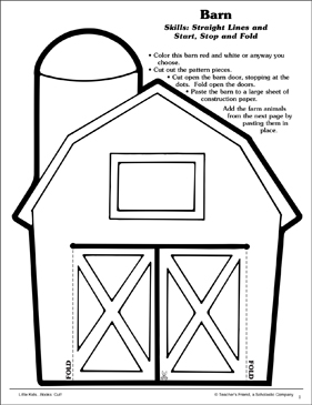 image relating to Barn Printable identified as Barn (Directly Traces and Begin, Conclusion and Fold): Scissor