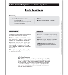Eerie Equations: Solve & Draw Math - Printable Worksheet