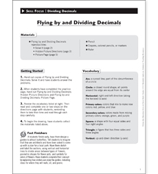 Flying by and Dividing Decimals: Solve & Draw Math - Printable Worksheet