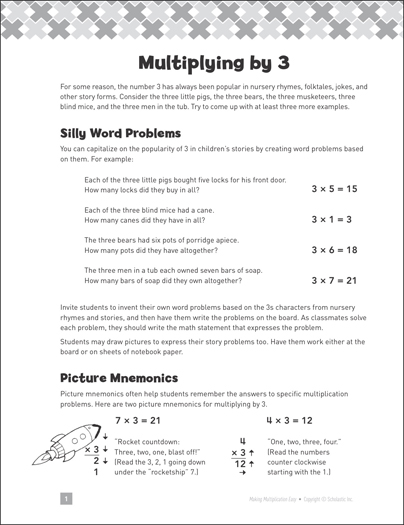 Multiplying by 3: Making Multiplication Easy - Printable Worksheet