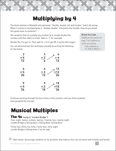 Multiplying by 4: Making Multiplication Easy - Printable Worksheet