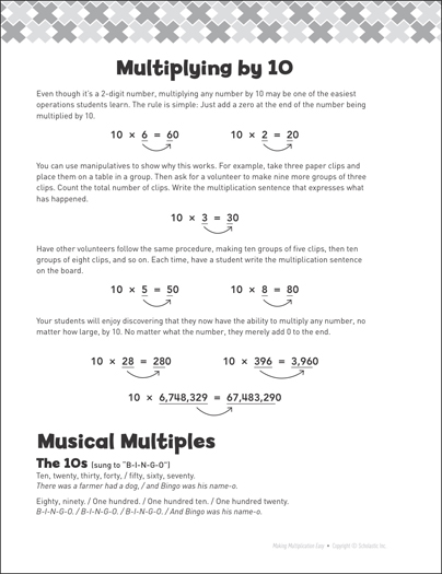 Multiplying by 10: Making Multiplication Easy - Printable Worksheet