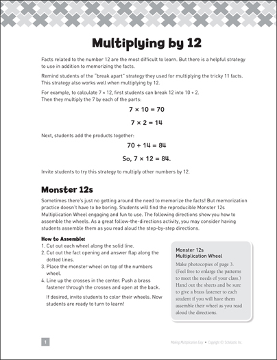 Multiplying by 12: Making Multiplication Easy - Printable Worksheet