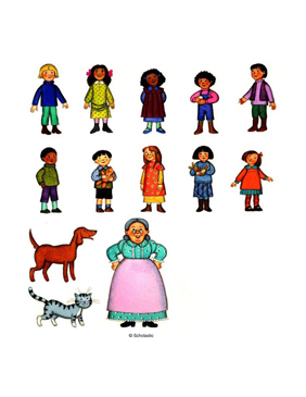 Children, Pets, and Grandmother - Image Clip Art