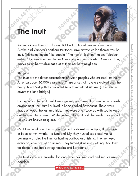 The Inuit Text Organizer Printable Graphic Organizers And Texts