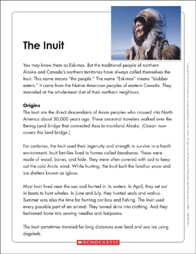 The Inuit: Text & Organizer - Printable Worksheet