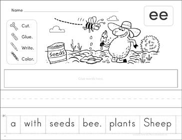 Vowel Digraph Ee Phonics Scrambled Sentence Printable Cut And Pastes Skills Sheets