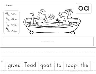 Vowel Digraph Oa Phonics Scrambled Sentence Printable Cut And Pastes Skills Sheets