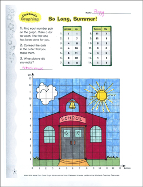 So Long, Summer! Coordinate Graphing Activity - Printable Worksheet