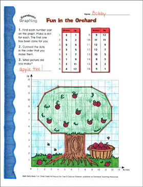 Fun in the Orchard: Coordinate Graphing With Ordered Pairs - Printable Worksheet