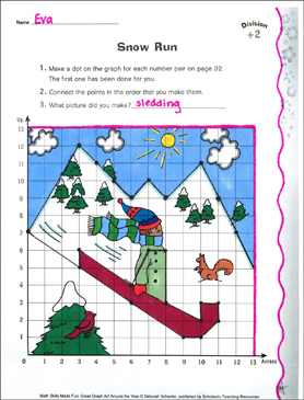 Snow Run: Coordinate Graphing With Division (Division by 2) - Printable Worksheet