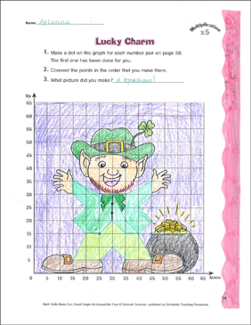 Lucky Charm: Coordinate Graphing With Multiplication - Printable Worksheet
