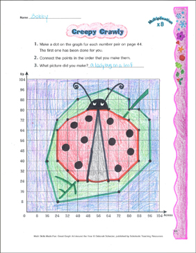Creepy Crawly: Coordinate Graphing With Multiplication - Printable Worksheet