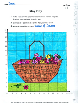 May Day: Coordinate Graphing with Division (Dividing by 6) - Printable Worksheet