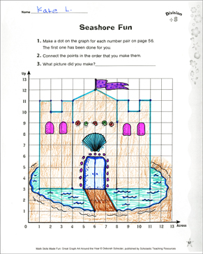 Seashore Fun: Coordinate Graphing With Division - Printable Worksheet