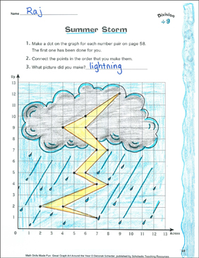 Summer Storm: Coordinate Graphing With Division - Printable Worksheet