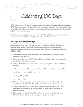 Celebrating 100 Days: Teaching With This Favorite Book - Printable Worksheet