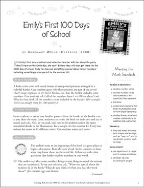 Emily's First 100 Days of School: Teaching With This Favorite Book - Printable Worksheet