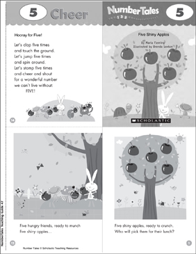 Five Shiny Apples (5): Number Tale - Printable Worksheet