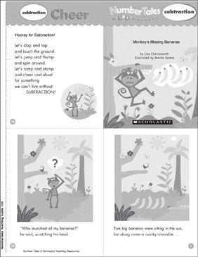 Monkey's Missing Banana (Subtraction): Number Tale - Printable Worksheet