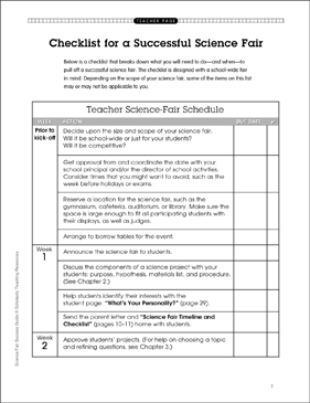 Checklist for a Successful Science Fair - Printable Worksheet