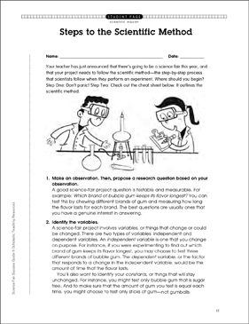 Steps to the Scientific Method - Printable Worksheet