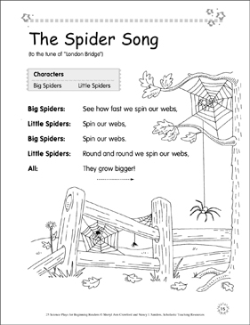 The Spider Song: Science Play - Printable Worksheet