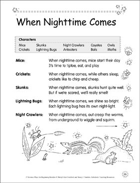 When Nighttime Comes: Science Play - Printable Worksheet