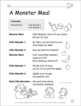 A Monster Meal: Science Play - Printable Worksheet