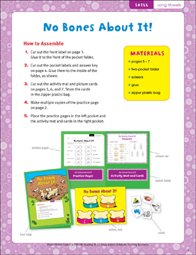 No Bones About It! (Long Vowels): Pocket-Folder Center - Printable Worksheet