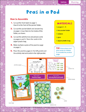 Peas in a Pod (Rhyming): Pocket-Folder Center - Printable Worksheet