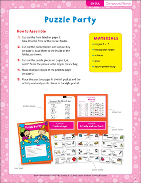 Puzzle Party (Compound Words): Pocket-Folder Center - Printable Worksheet
